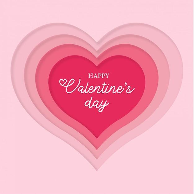 Papercut coeur pour la saint valentin Vecteur gratuit