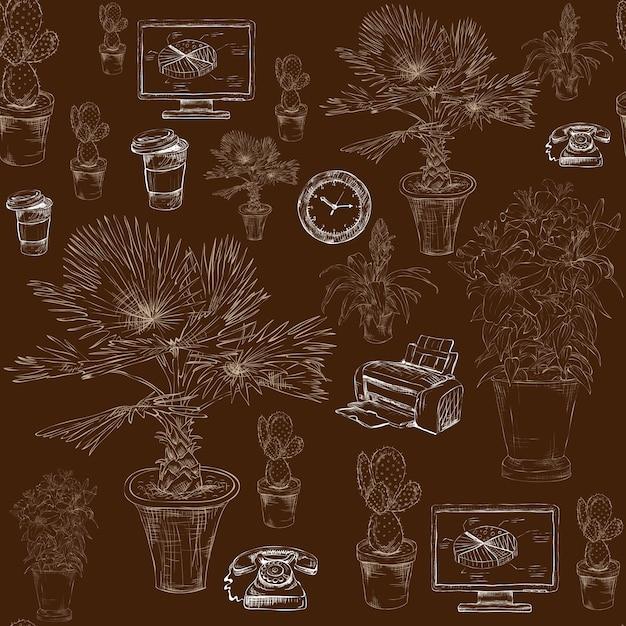 Papeterie de bureau sans couture avec motif de fleurs décoratives Vecteur Premium