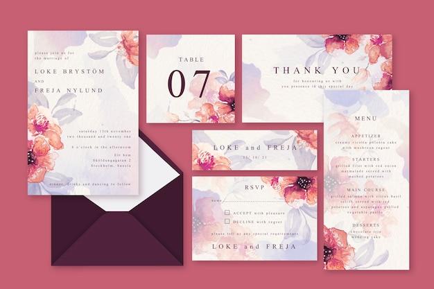 Papeterie de mariage pastel poudre rose Vecteur gratuit
