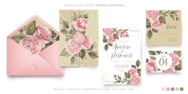 Papeterie De Mariage Vintage Avec Pivoines Roses Vecteur gratuit