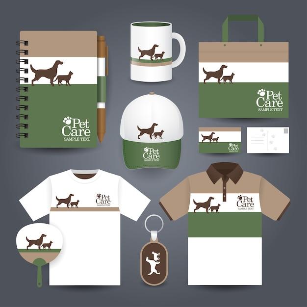 Papeterie pour animaux de compagnie Vecteur Premium