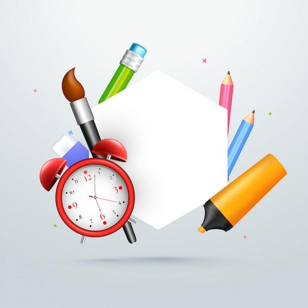 Papeterie scolaire et espace blanc pour votre texte. retour à s Vecteur Premium