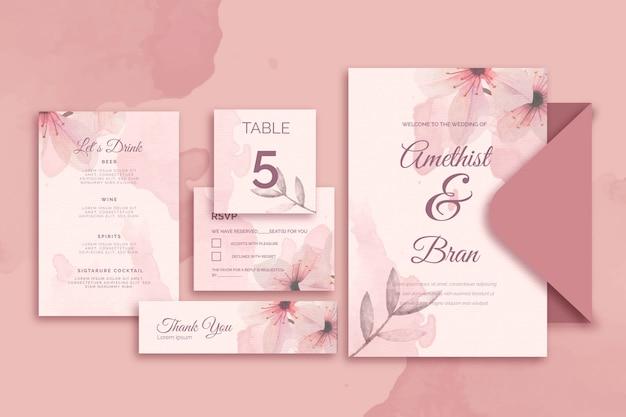 Papeterie Variée Pour Mariage Dans Des Tons Roses Vecteur gratuit