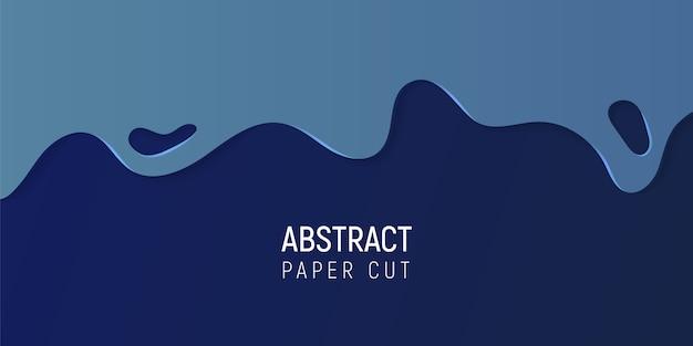 Papier abstrait coupé le fond de slime. bannière avec slime abstrait avec du papier bleu coupe les vagues. Vecteur Premium