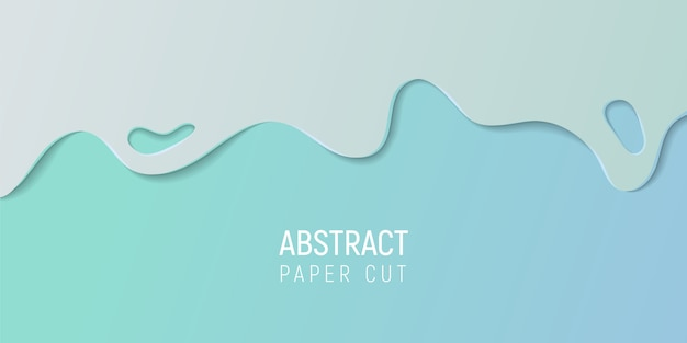 Papier Abstrait Coupé Le Fond De Slime. Bannière Avec Slime Abstrait Avec Du Papier Bleu Cyan Coupe Les Vagues. Vecteur Premium