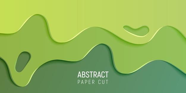 Papier Abstrait Vert Coupé Fond De Slime Vecteur Premium