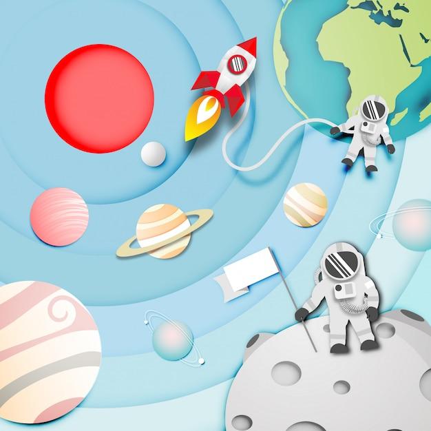 Papier d'art d'astronaute sur la lune dans l'espace Vecteur Premium
