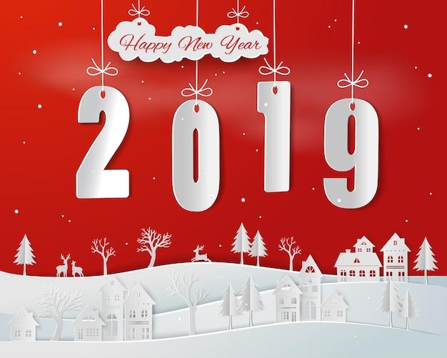 Papier d'art de bonne année 2019 sur fond rouge Vecteur Premium