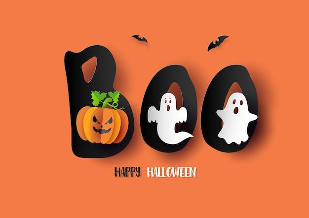 Papier D'art De Happy Halloween, Affiche, Bannière Ou Arrière-plan Vecteur Premium