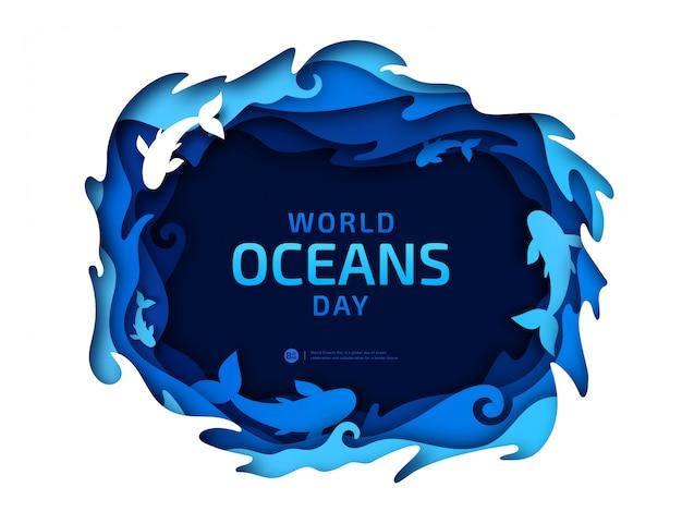Papier d'art de la journée mondiale des océans Vecteur Premium