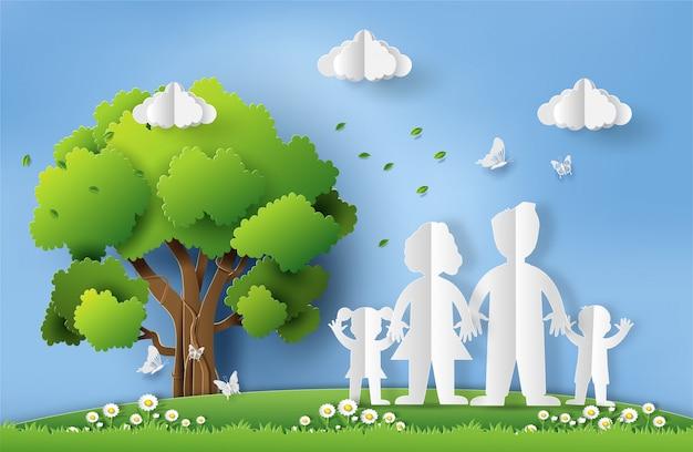 Papier art style du concept de la journée mondiale de l'environnement. Vecteur Premium