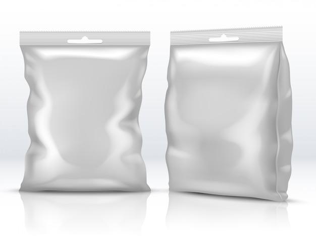 Papier blanc alimentaire vierge ou emballage en aluminium isolé illustration vectorielle 3d Vecteur Premium