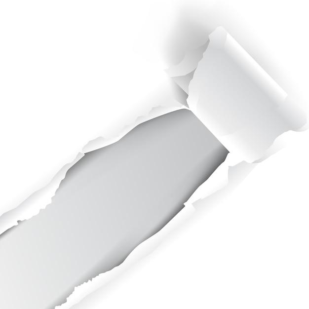 Papier blanc déchiré Vecteur Premium