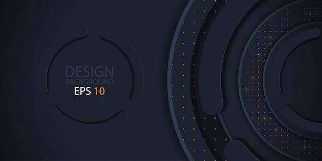 Papier de cercle noir coupé fond avec des paillettes Vecteur Premium