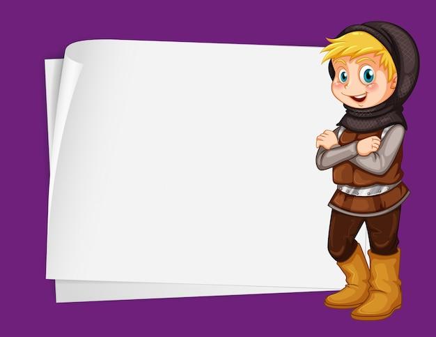 Papier avec chasseur de contes de fées Vecteur gratuit