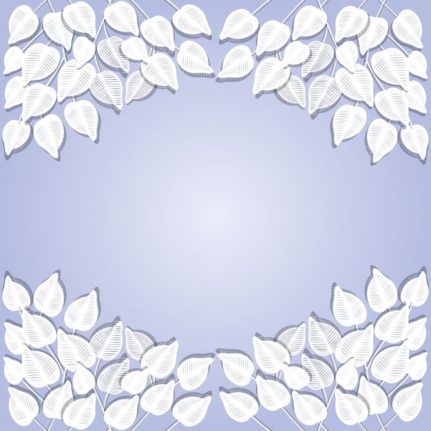 Papier coupé fond feuilles blanches cadre Vecteur Premium