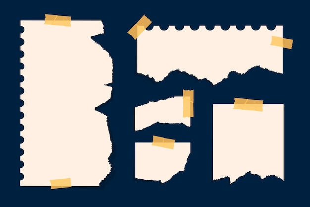 Papier Déchiré Sous Différentes Formes Vecteur Premium