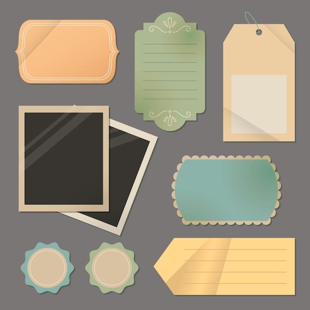 Papier Déchiré Vintage Et étiquettes Avec Photos Vierges Vecteur gratuit