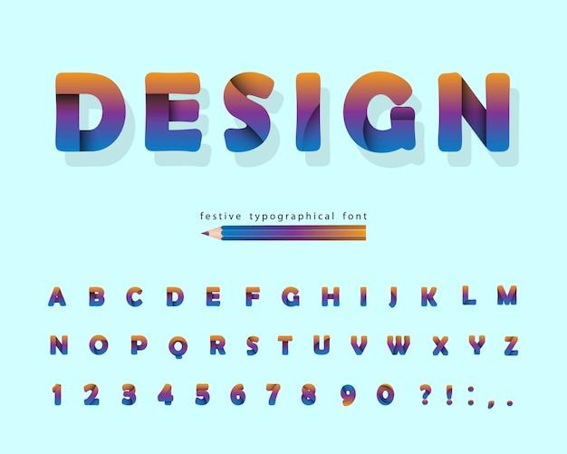 Papier Découpé Alphabet. Police De Conception Moderne. Vecteur Premium