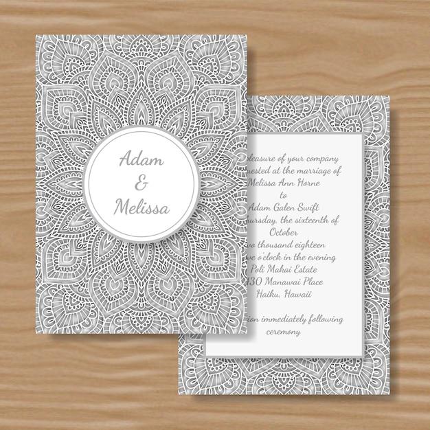 Papier découpé carte de mariage mandala blanc. Vecteur Premium
