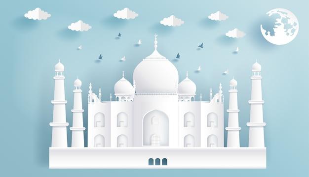 Papier découpé dans des sites célèbres de l'inde, le taj mahal. Vecteur Premium