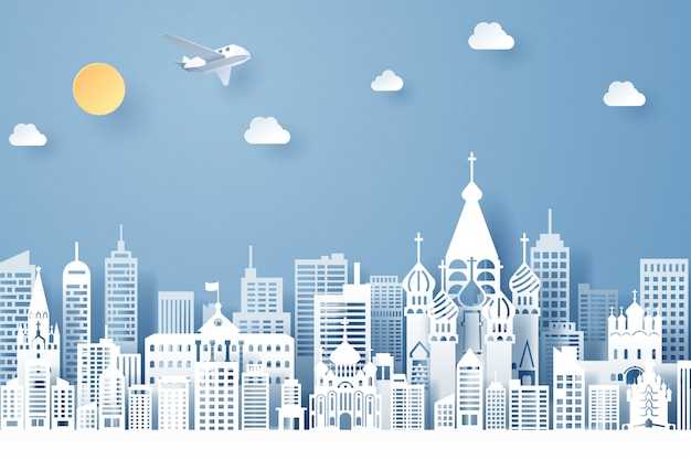 Papier découpé du concept de point de repère, de voyage et de tourisme de la russie Vecteur Premium