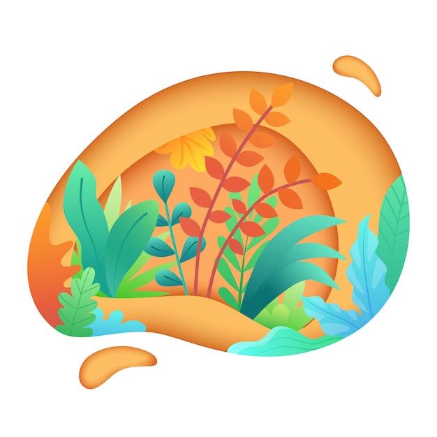 Papier découpé avec des feuilles et des plantes Vecteur Premium