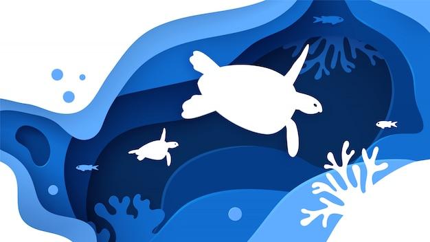 Papier découpé fond de mer avec tortues, vagues, poissons et récifs coralliens. Vecteur Premium