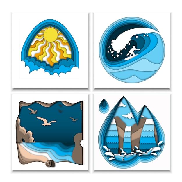 Papier découpé illustrations de style avec soleil, nuages, surfeur sur la vague de haute mer, plage de la mer, rochers, oiseaux et cascade. Vecteur Premium