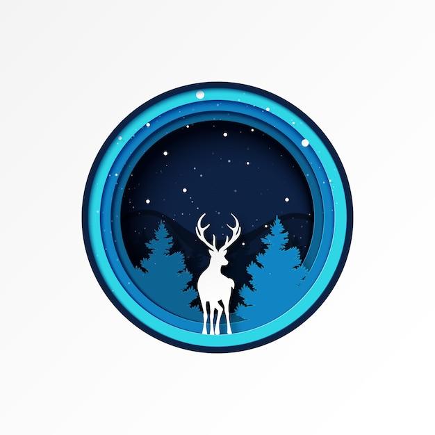 Papier Découpé De Paysage De Saison D'hiver De Forêt De Cerfs Et De Pins Et De Noël. Vecteur Premium