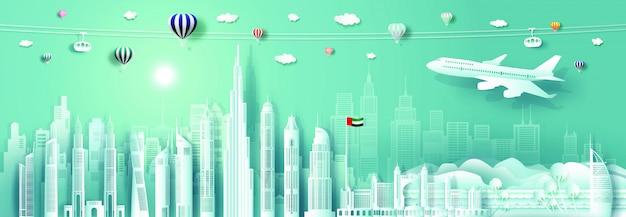Papier Découpé Paysage Urbain Des émirats Arabes Unis Avec Avion Vecteur Premium