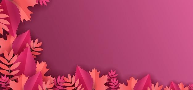 Papier floral coupe décoration avec fond de feuilles d'érable Vecteur Premium