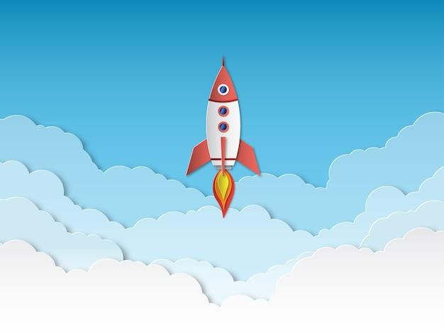 Papier De Fusée Coupé. Lancement De Fusées Avec Des Nuages, Démarrage D'entreprise Réussi. Vecteur Premium