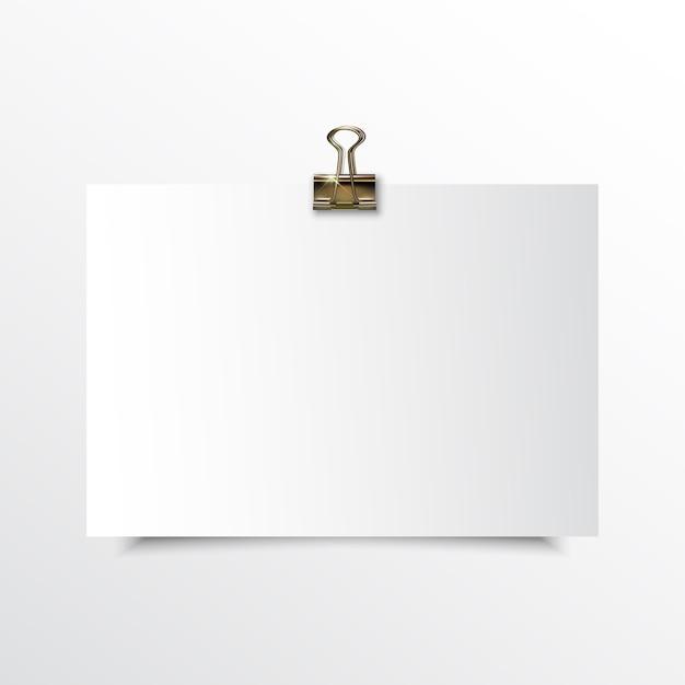Papier horizontal vierge réaliste maquette Vecteur Premium