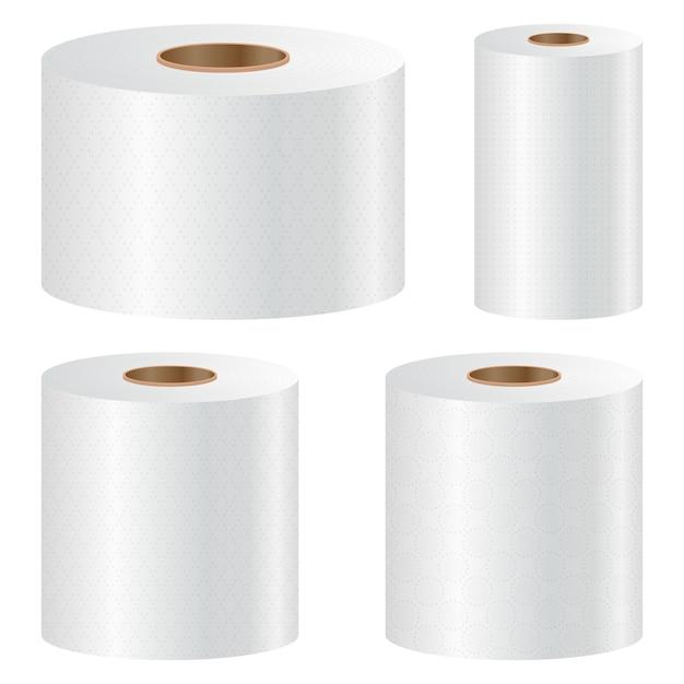 Papier Hygiénique Mis Illustration Sur Fond Blanc Vecteur Premium