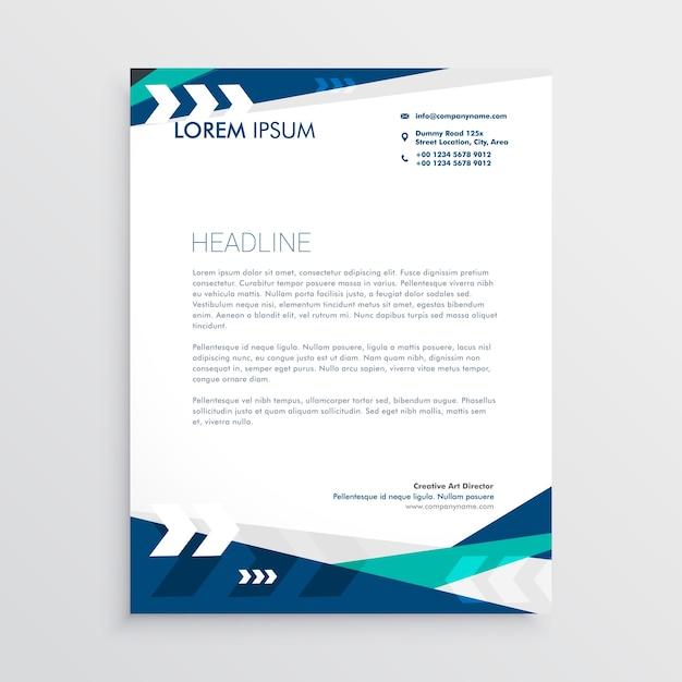 Papier à lettre avec des formes géométriques bleues et une flèche Vecteur gratuit