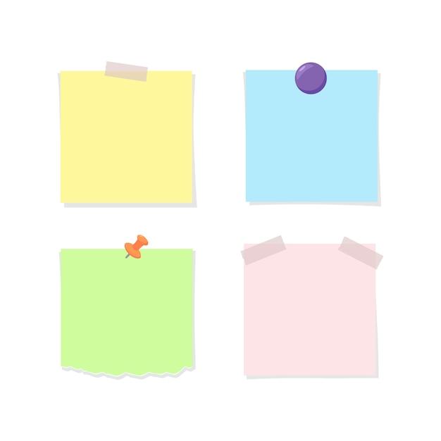 Papier à Lettres Attaché Avec Du Ruban Adhésif, Une Punaise Et Un Aimant Vecteur Premium
