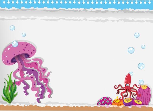 Papier avec des méduses sous l'eau Vecteur gratuit
