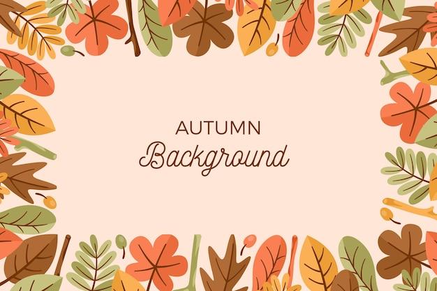 Papier Peint D'automne Avec Des Feuilles Vecteur gratuit