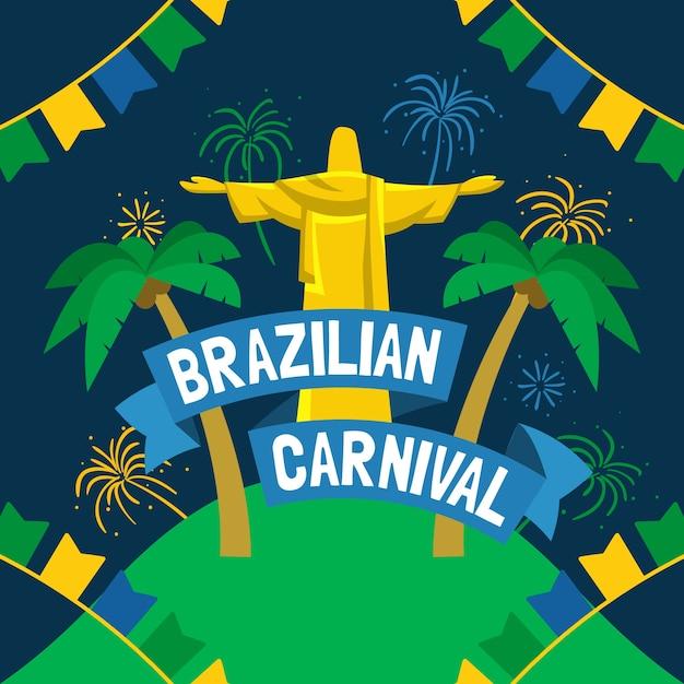 Papier Peint Carnaval Brésilien Dessiné à La Main Vecteur gratuit