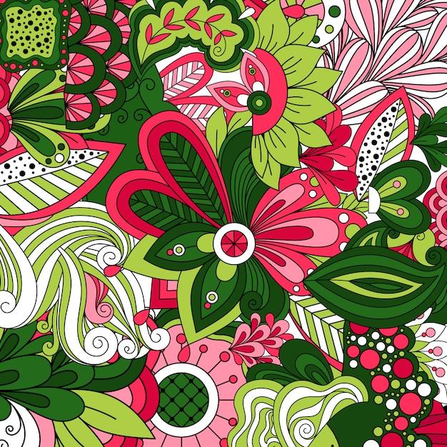 Papier peint avec fleurs stylisées de dessin animé vert Vecteur Premium