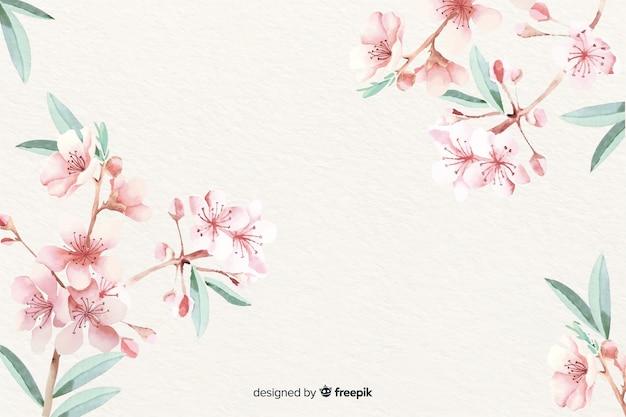 Papier peint floral aquarelle avec des couleurs douces Vecteur gratuit