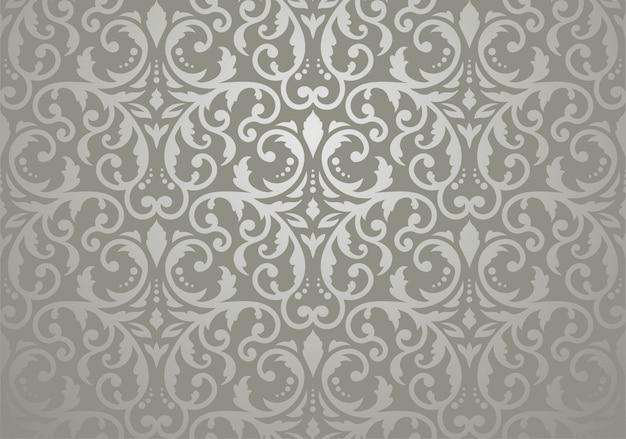 Papier peint floral vintage argenté Vecteur Premium