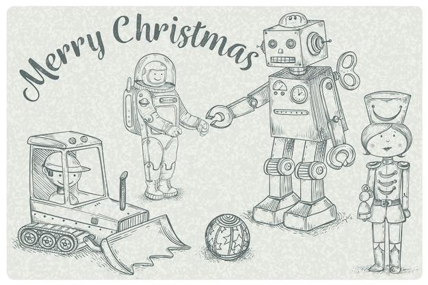 Papier peint de jouets de noël dessinés à la main Vecteur gratuit