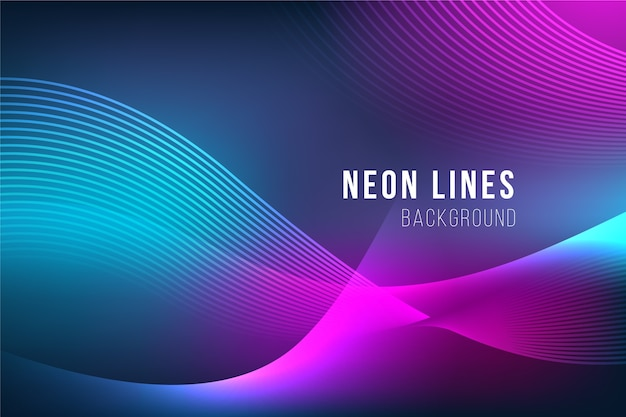 Papier peint lignes abstraites au néon Vecteur gratuit