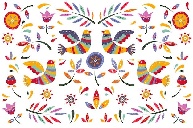 Papier Peint Mexicain Plat Coloré Vecteur gratuit