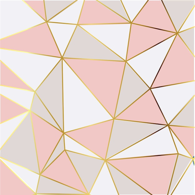 Papier Peint Mosaïque Moderne En Or Rose Et Blanc Vecteur Premium