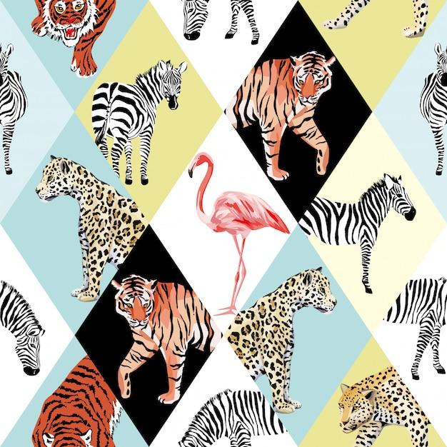 Papier peint motif sans soudure animaux tropicaux patchwork et oiseau multicolore Vecteur Premium