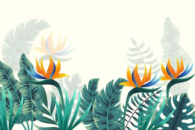 Papier Peint Mural Tropical Avec Des Fleurs Vecteur gratuit