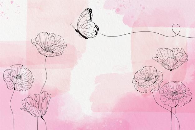 Papier Peint Pastel Doux Avec Des Fleurs Vecteur gratuit